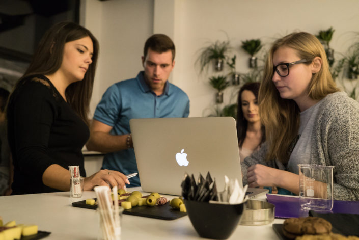 Nobel coaching and tutoring team at a coffeeshop.