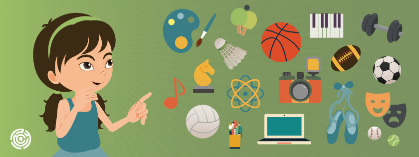 Illustration showing a young girl looking at things like a basketball, cameras, art supplies.