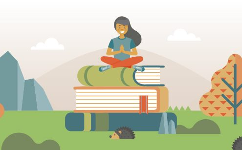 Illustration of a girl sitting on top of a giant pile of books.